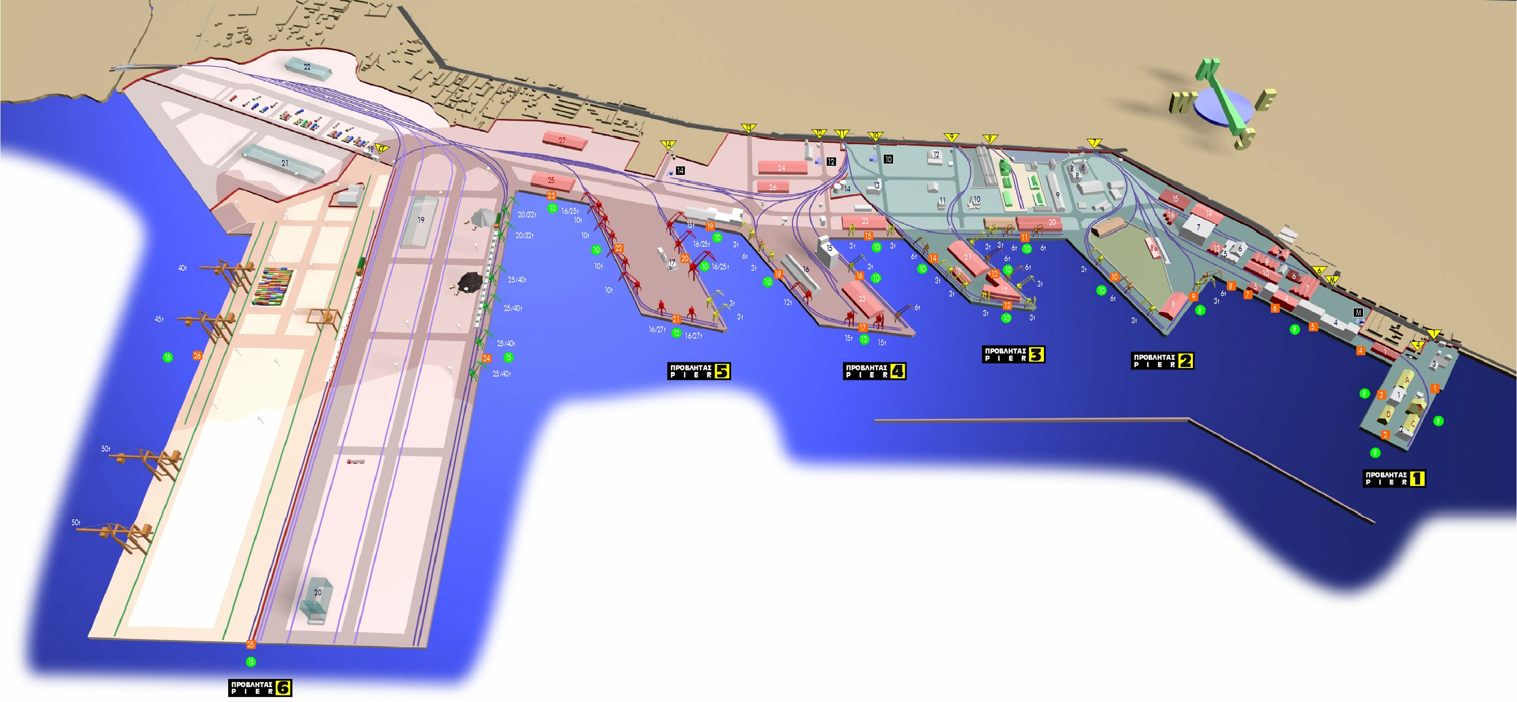 map of Thessaloniki harbor harbour