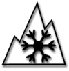 mountains and snowflake tire mark